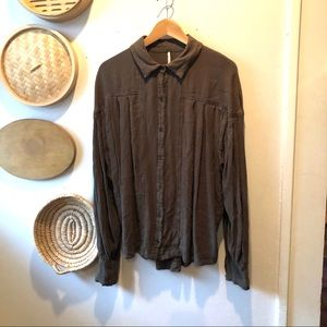 Free People boho olive green button down